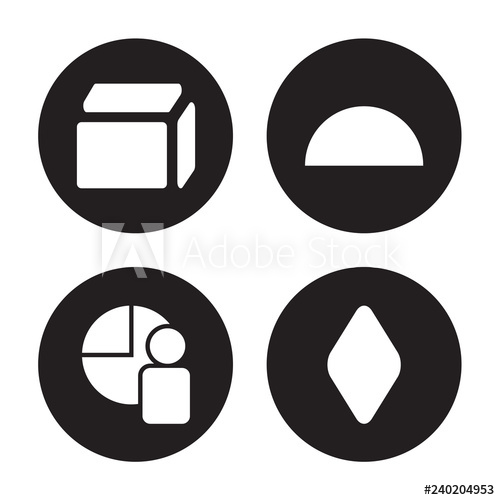 4 vector icon set : Side to side of a cube, Segment.