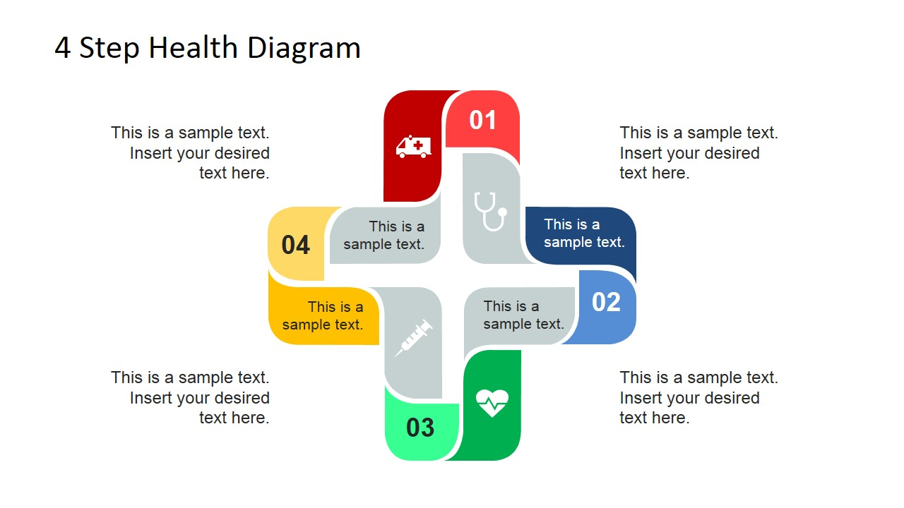 4 Step Cross Healthcare Diagram for PowerPoint.