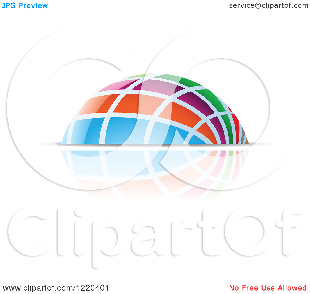 Clipart of a Colorful Dome and Reflection 4.