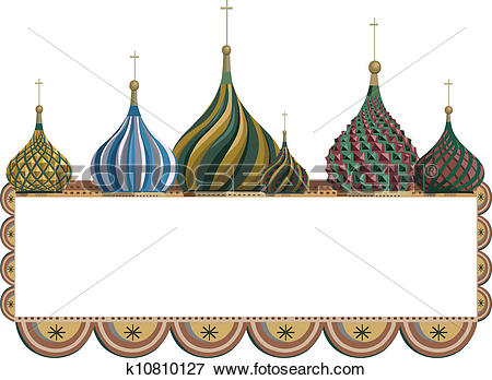 Clip Art of Frame with Kremlin Domes k10810127.