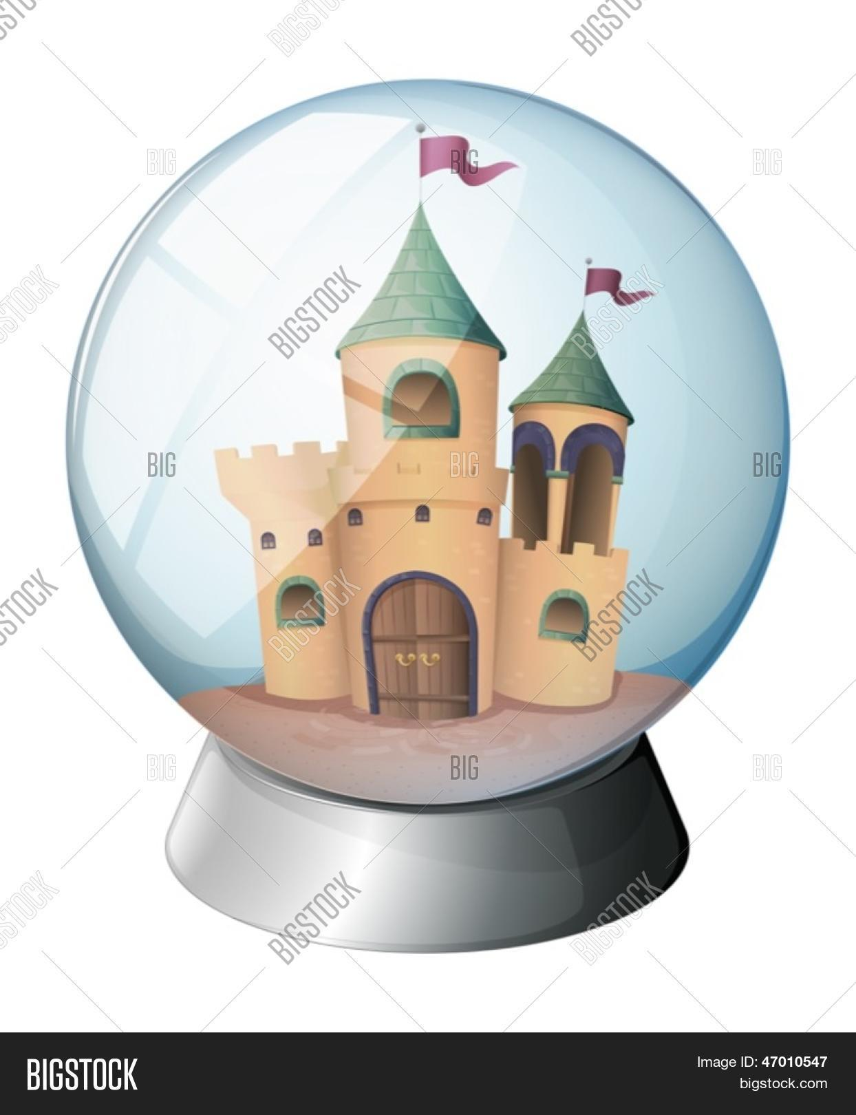 Illustration of a castle inside a glass dome on a white background.