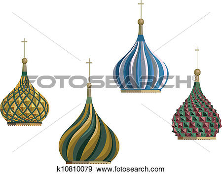 Clip Art of Kremlin Domes k10810079.