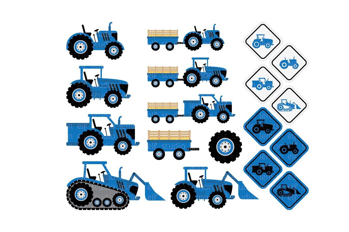 Blue Tractors Clipart (LES.CL58B).