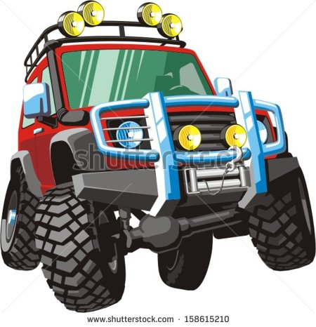 4 Wheel Drive Tractor Silhouette Clipart.