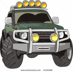 4 Wheel Drive Tractor Silhouette Clipart.