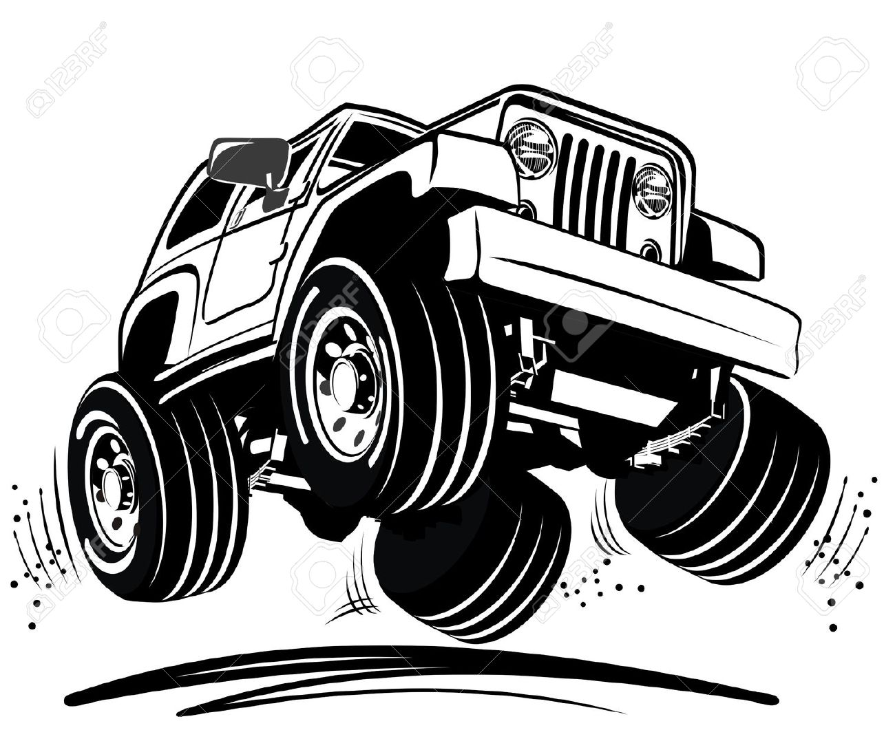 Car clipart black and white showing all four wheels.