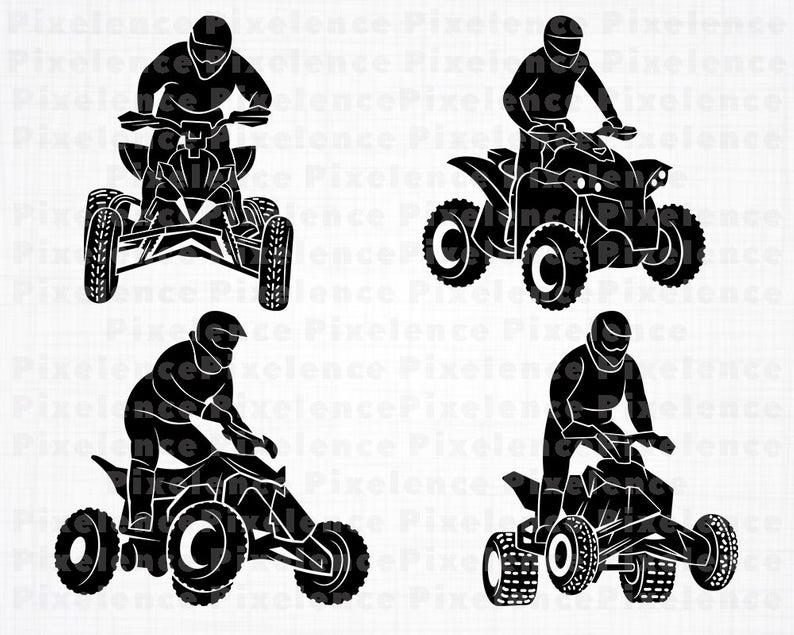 ATV Svg Files, 4 Wheeler Svg, ATV Motocross Svg, ATV Clipart, Cut Files For  Silhouette, Files for Cricut, Vector, Svg, Dxf, Png, Eps, Design.