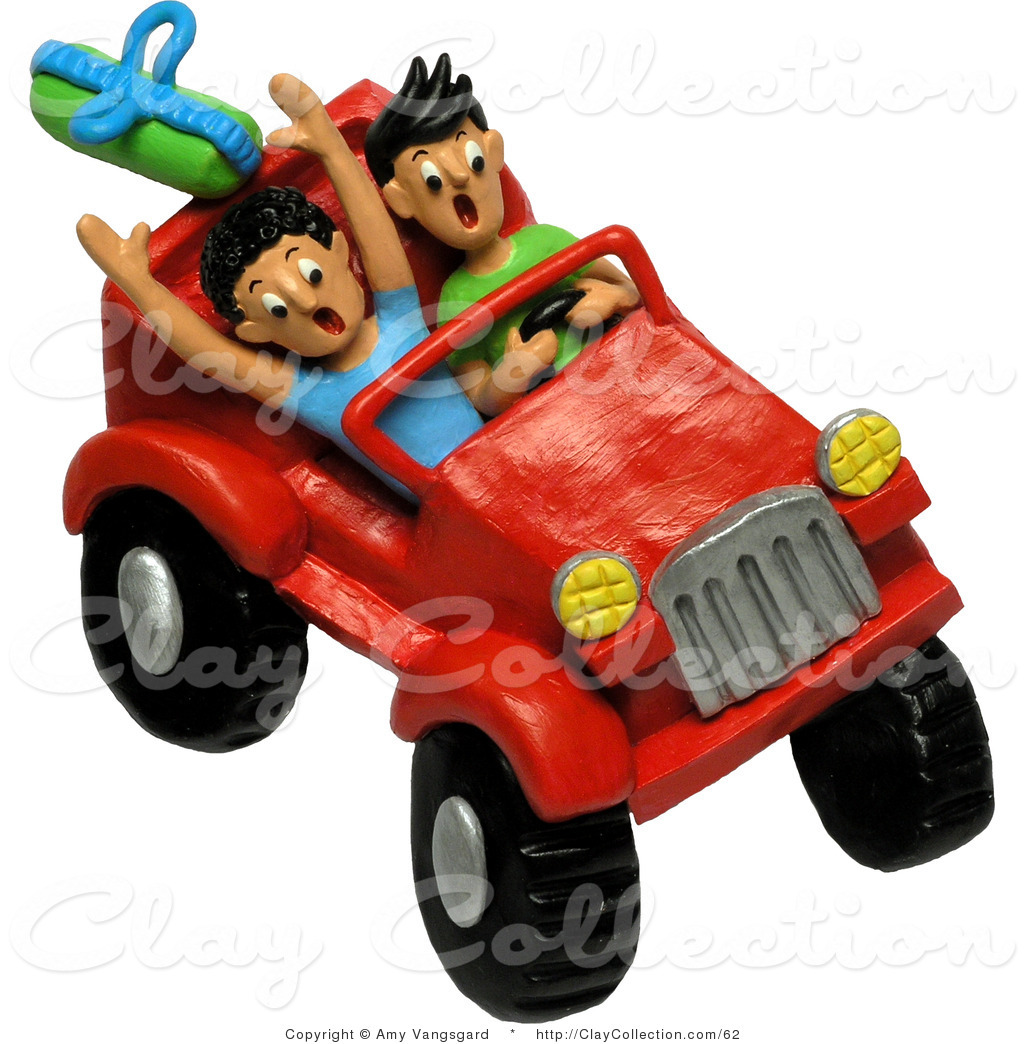 Clay Illustration of Two 3d Teenagers Four Wheeling in a Red Jeep by.