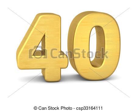3d number 40 gold.