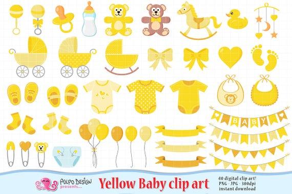 Yellow Baby Clipart. Scrapbook Yellow Baby clip art, Boy Girl Gender.