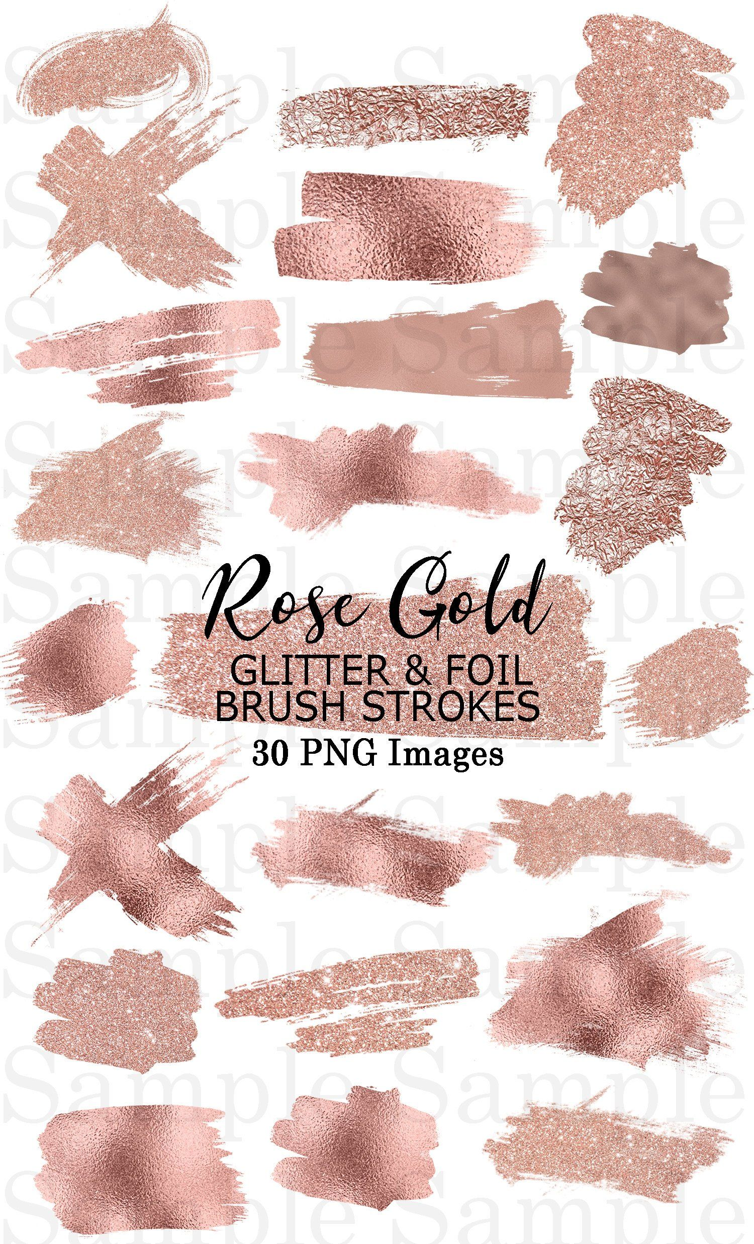 Rose Gold Foil and Glitter Brush Strokes Clip Art #40 Hand.