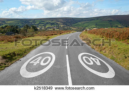 Stock Photograph of 40 mph signs on a country road, Dartmoor.