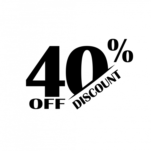 Sales Discount Icon Special Offer Price 40 Percent Vector Art Font.