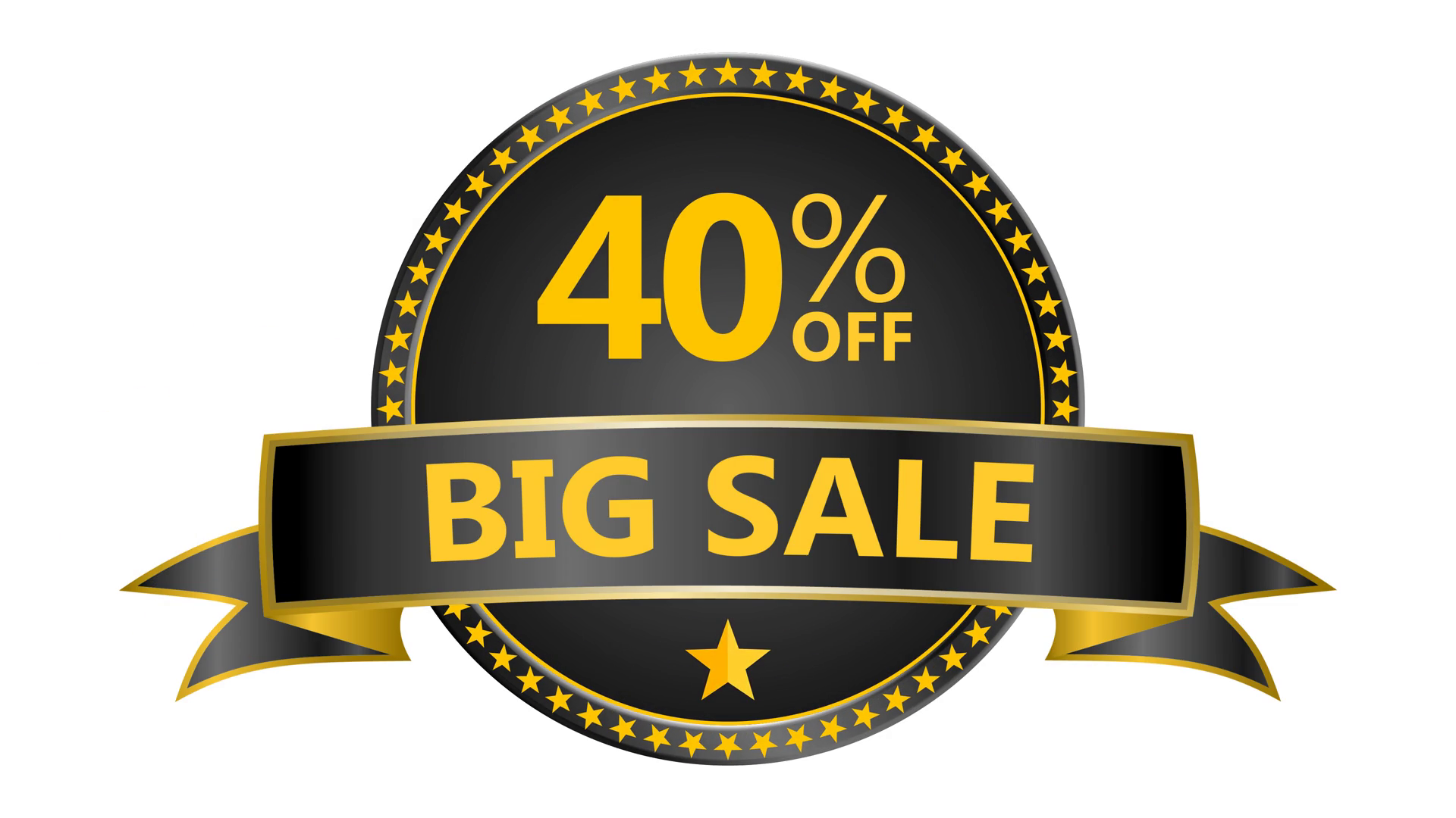 Big Sale motion tag. Discount and special offer. 40% off. 4K Black Friday  animation online shopping banner. Include PNG + Alpha channel. Motion.