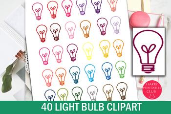 40 Colors Light Bulb Clipart.