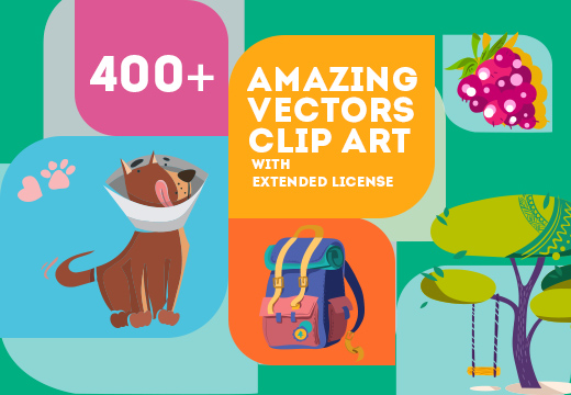 400+ Amazing Vector Clip Art with 27 different sets.