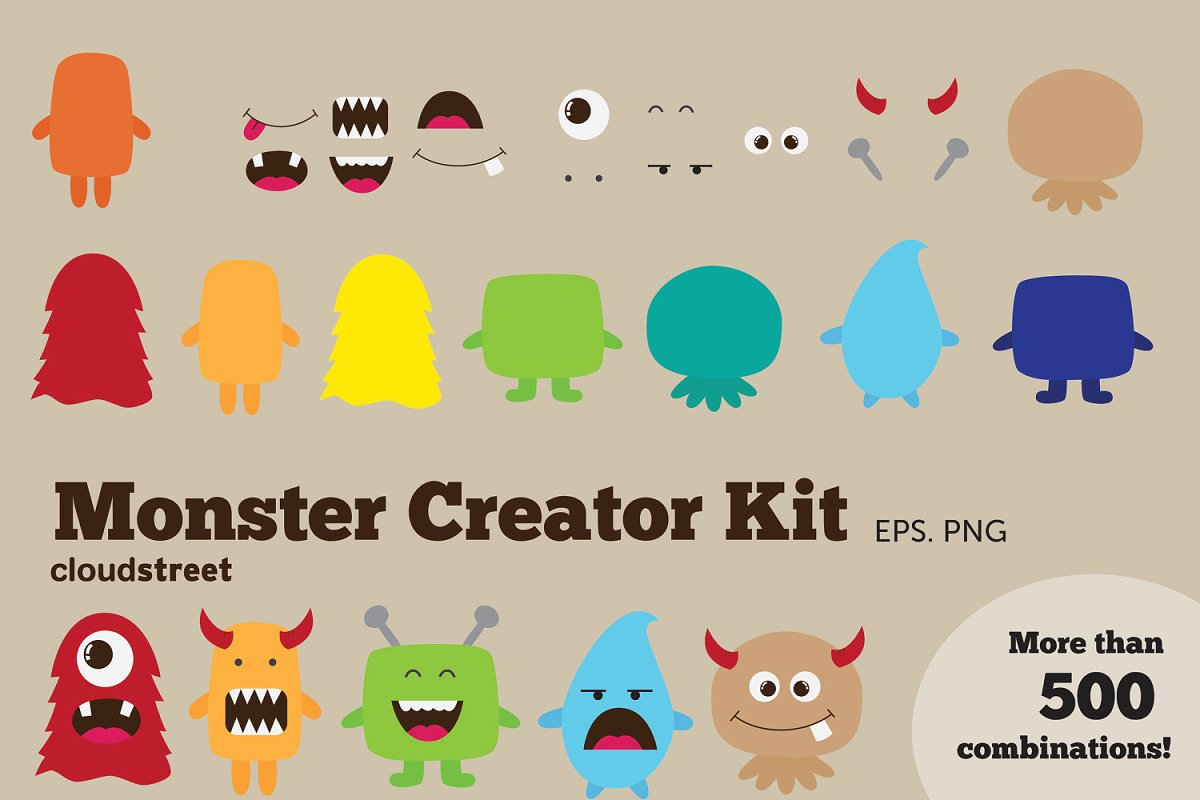 Monster Creator Kit Clipart ~ Illustrations ~ Creative Market.