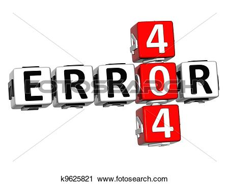 Clipart of 3D Error 404 Crossword k9625821.