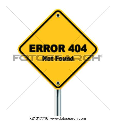 Clip Art of 3d illustration of error 404 not found road sign.