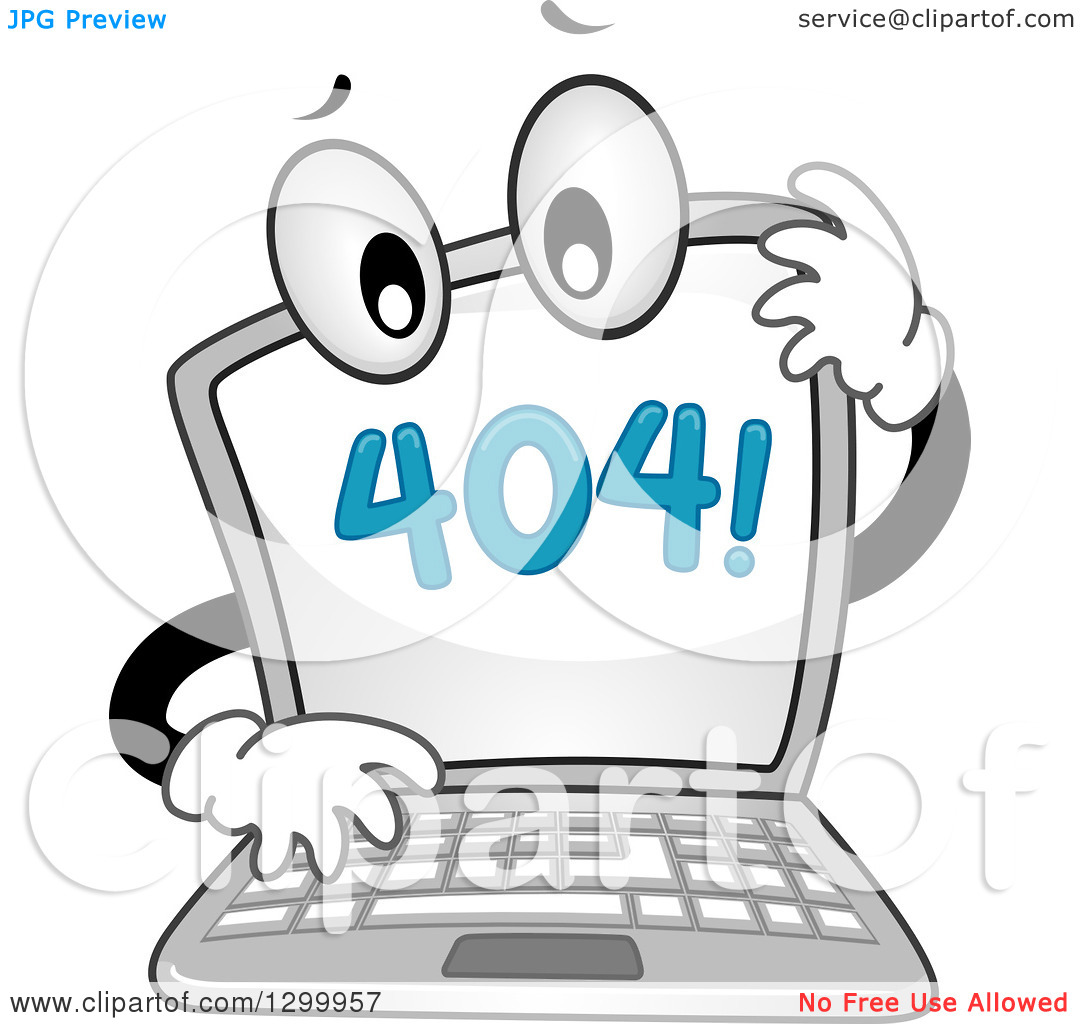Clipart of a Cartoon Confused Laptop with a 404 Error Notice on.
