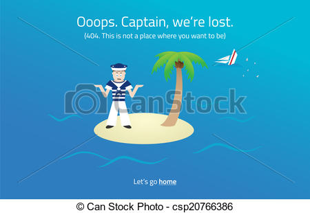 Vector of 404 web page. Sailor on desert island theme..