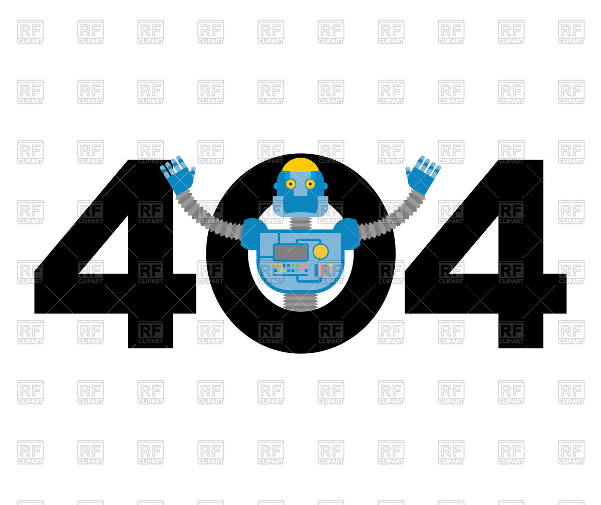 Error 404 robot surprise. Vector Image of Fonts & Type © popaukropa.