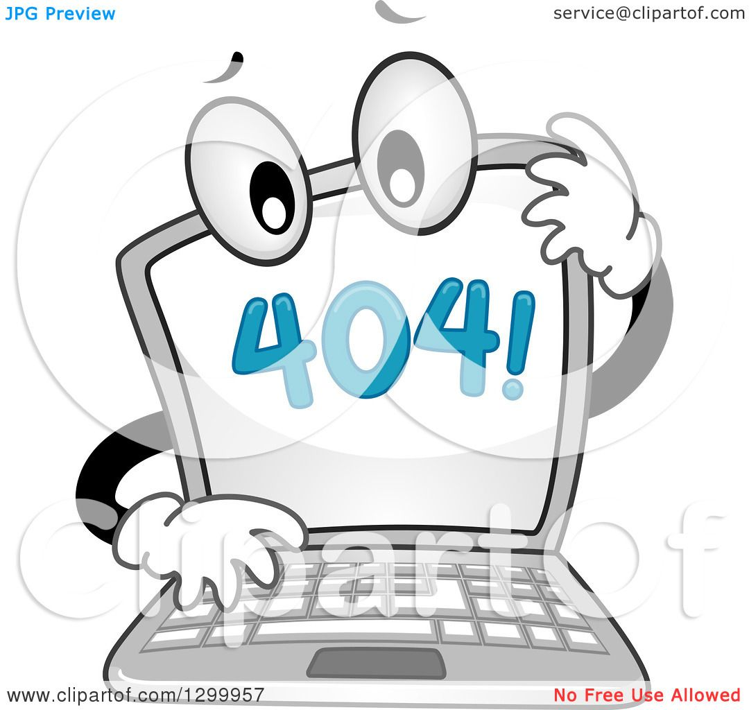 Clipart of a Cartoon Confused Laptop with a 404 Error Notice on the.