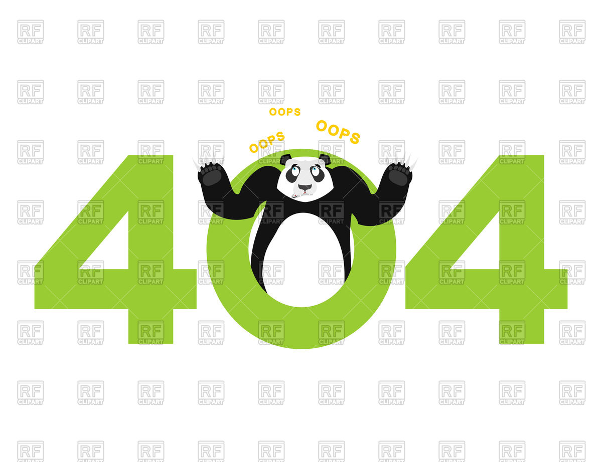 Error 404. Panda surprise. Vector Image of Fonts & Type © popaukropa.