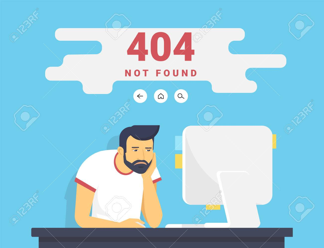 Man With Pc Sitting At Home 404 Page Not Found Error Royalty Free.