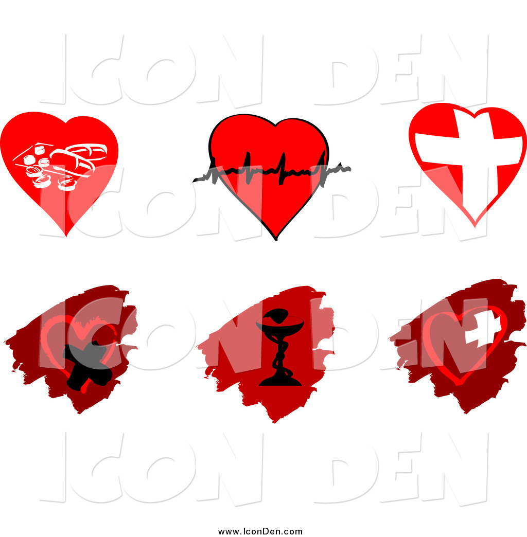 Clip Art of Cardiology Heart and Pharmaceutical Icons Designs by.