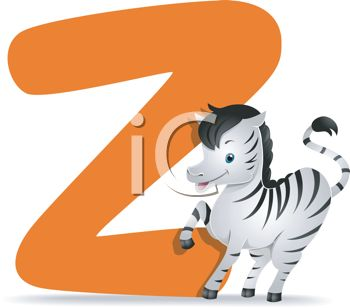 Clip Art Illustration of a Zebra with the Letter Z.