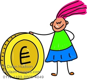 Clipart Image of A Happy Little Girl With A Giant Gold Coin.