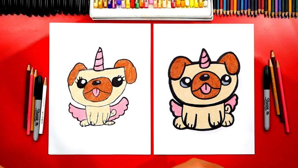 How To Draw A Pugicorn Unipug Unicorn Pug.