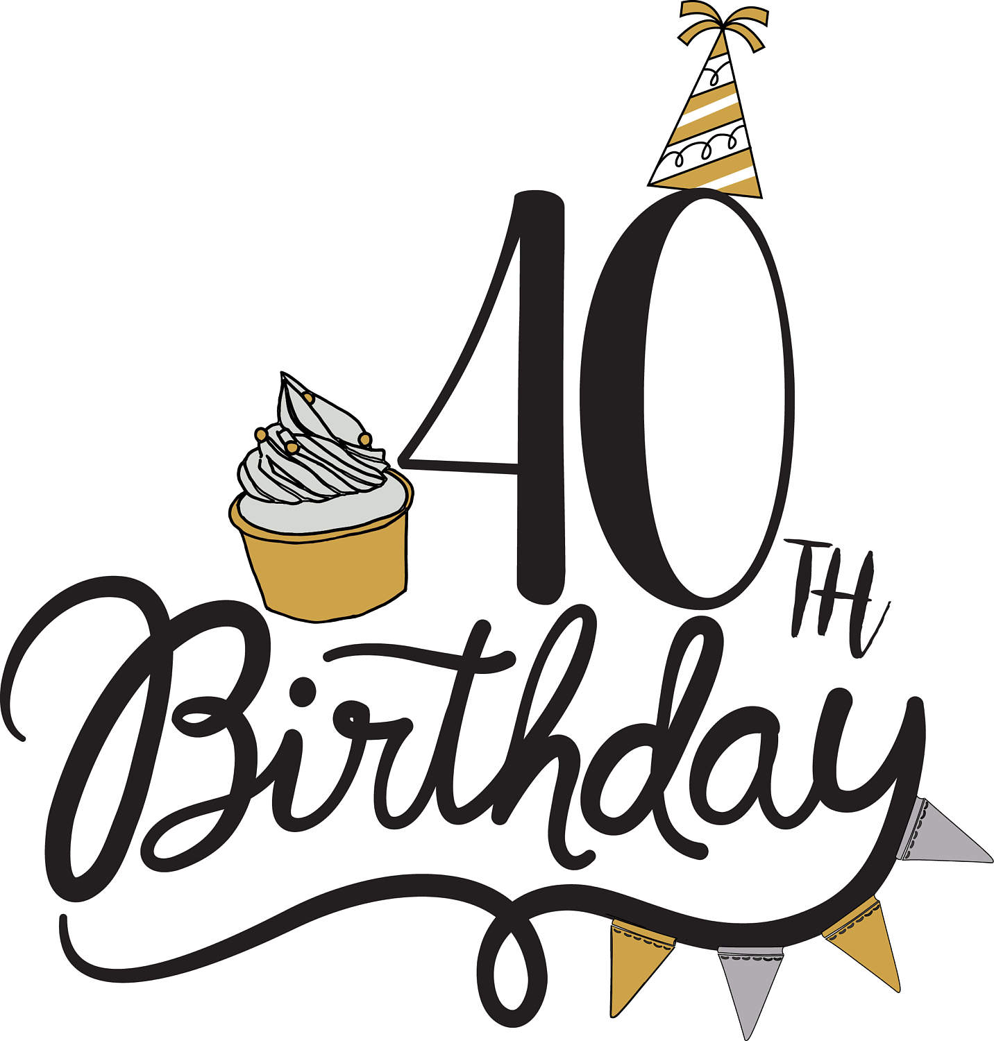 40th Birthday Clipart Images.