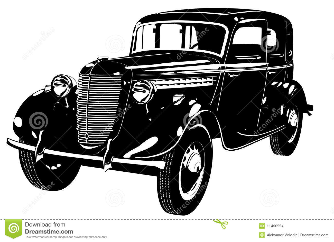 Old Car Silhouette Vector.