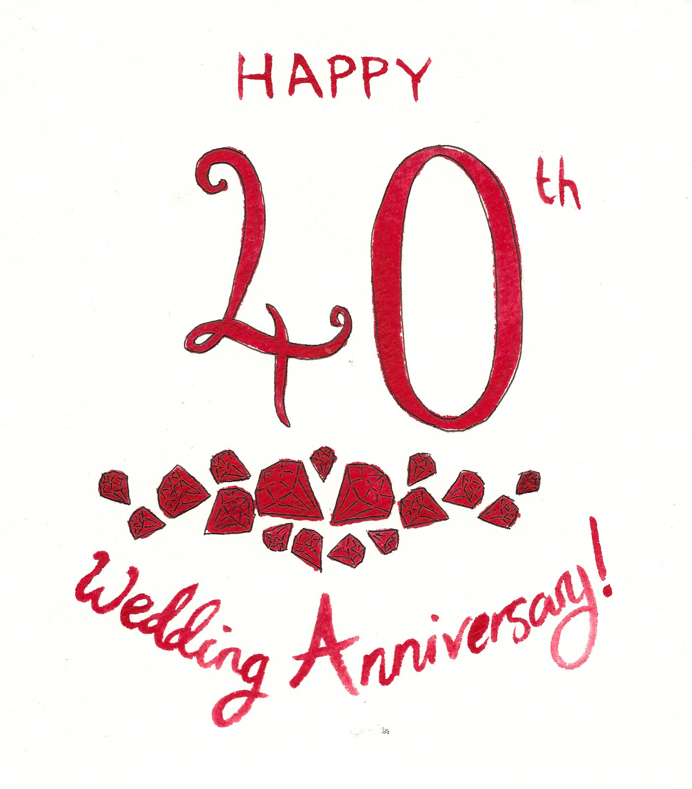 Ruby Wedding Anniversary Clip Art, 40th wedding anniversary.