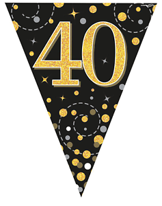 Details about 40th Birthday Party Sparkling Age 40 Black & Gold Flag  Bunting Banner Decoration.