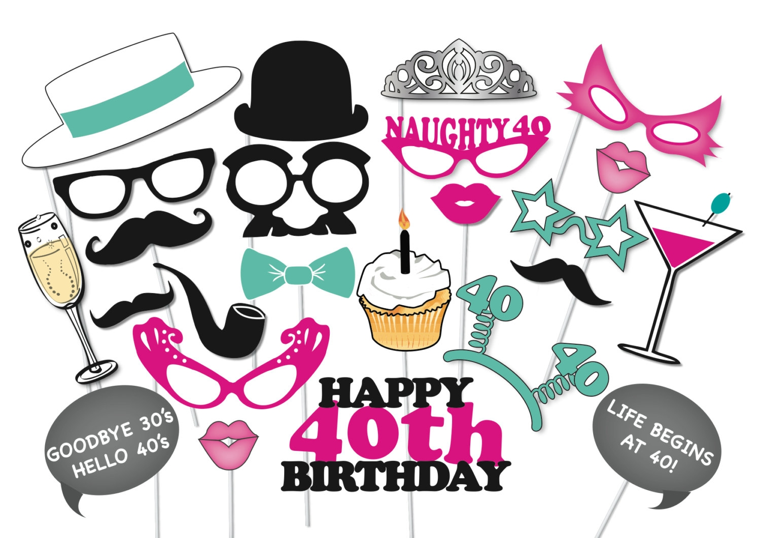 40th Birthday Party Clipart.