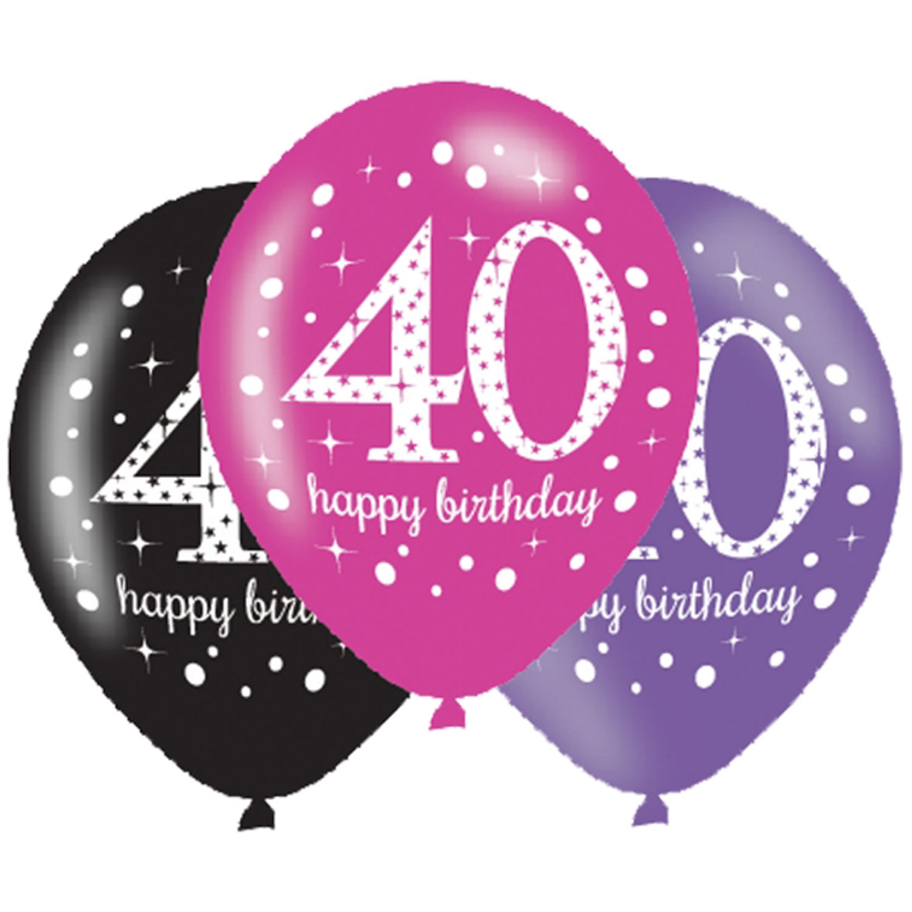 6 X 40th Birthday Balloons Black Pink Lilac Party Clipart.