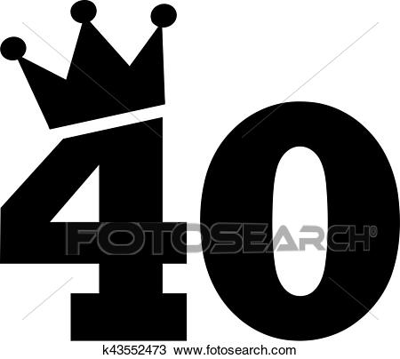 40th Birthday number crown Clipart.