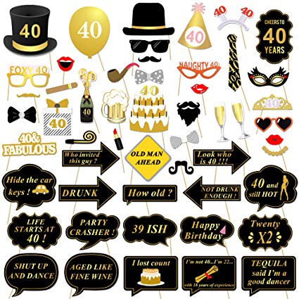40th Birthday Party Photo Booth Props (53Pcs) for Her Him Funny 40 DIY  Birthday Party Gold and Black Decorations, Konsait 40th Birthday Party  Supplies.