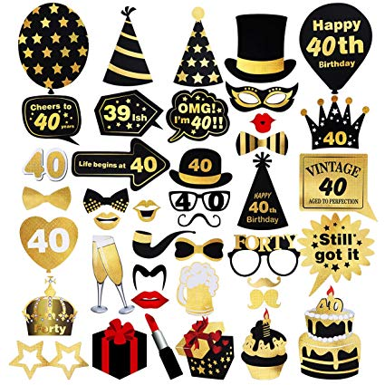 Unomor 40th Birthday Photo Booth Props (42Pcs) for Gold and Black Birthday  Party Supplies, 40th Birthday Decorations Supplies for Men and Women.