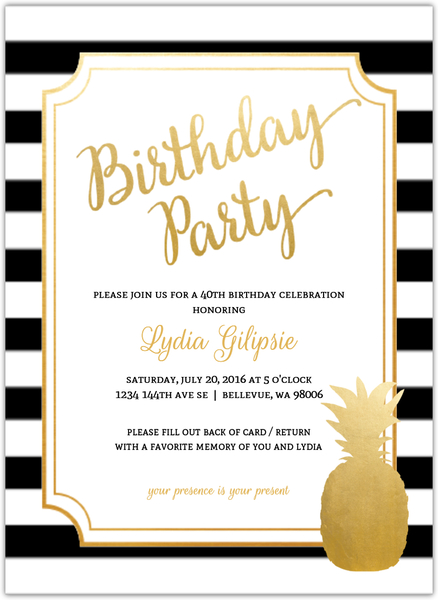 Modern Chic Pineapple 40th Birthday Party Invitation.