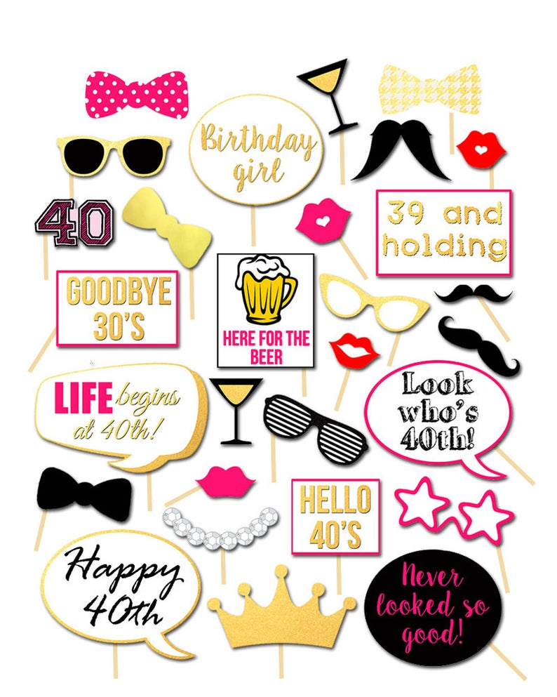 40th Birthday Party Photobooth Props, 40th Birthday Party photo booth  props, Printable, Happy 40th Birthday, Decoration, Forty and Fabulous.