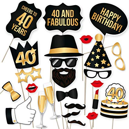 40th Birthday Photo Booth Props.
