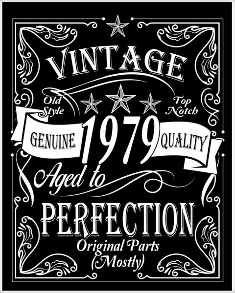 Vintage 1979 Mostly Original Parts 40th Birthday Poster.