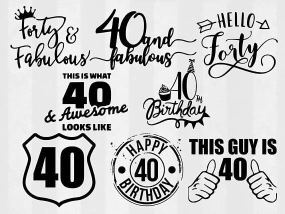 40th birthday SVG Bundle 40th birthday clipart 40th cut.