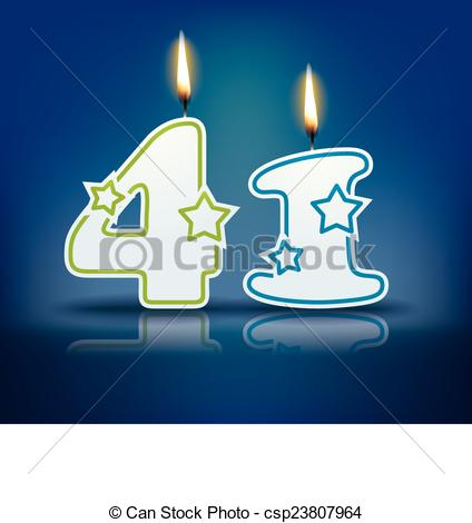 Clip Art Vector of Birthday candle number 41.