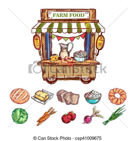Vectors Illustration of Farm Food Outdoor Shop Composition.