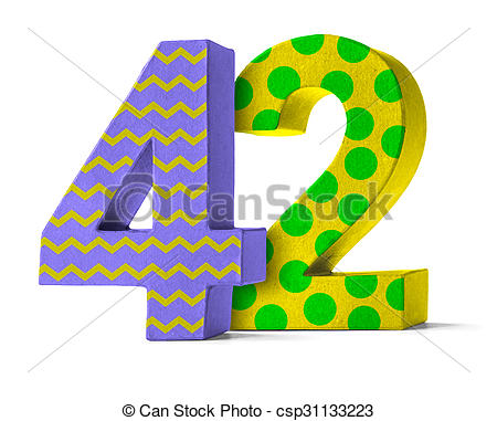 Stock Photo of Colorful Paper Mache Number on a white background.